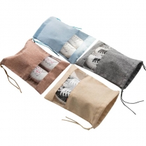Natural linen fabric eco friendly breathable shoe storage bag linen drawstring packaging bag