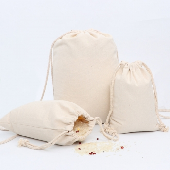 Wholesale Natural cotton linen Reusable drawstring bag for Food