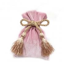 custom purple velvet bags with gold string and logo