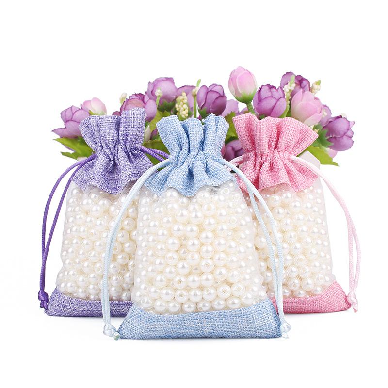 Environmentally friendly window sacks small jewelry storage drawstring bag gift linen bundle bag