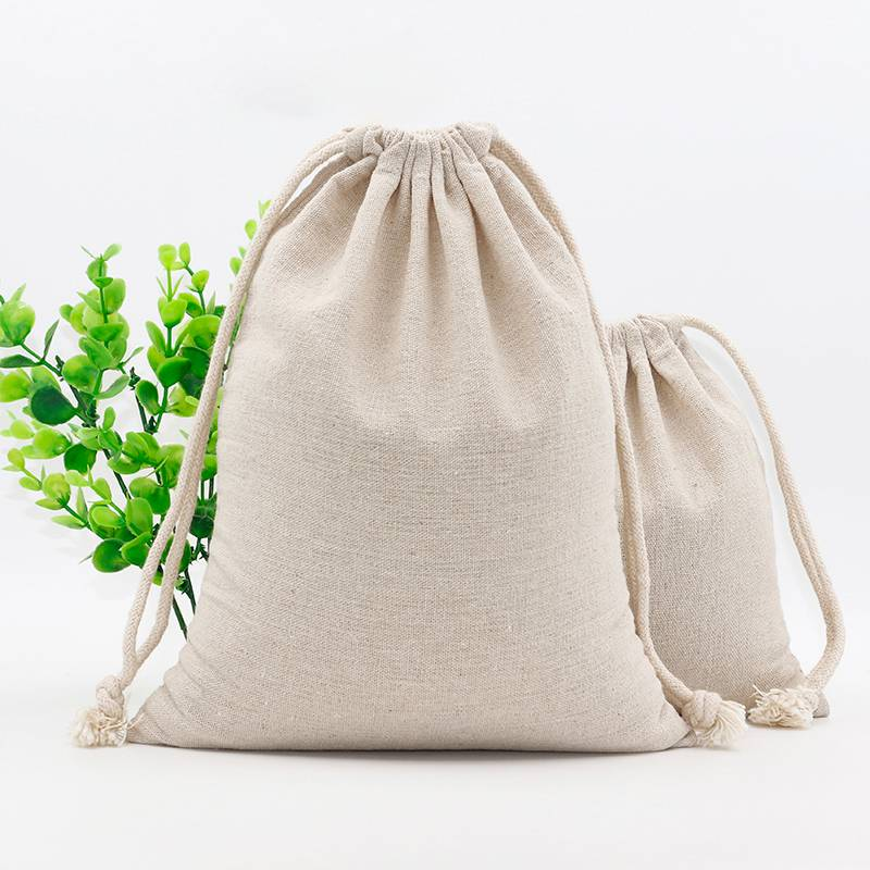 Custom Logo Print Cotton Linen Bag Pouch Drawstring Bags Christmas Food Gift Pouches