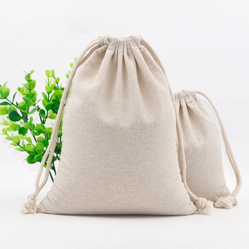 Custom Logo Print Cotton Linen Bag Pouch Drawstring Bags Christmas Food Gift Pouches