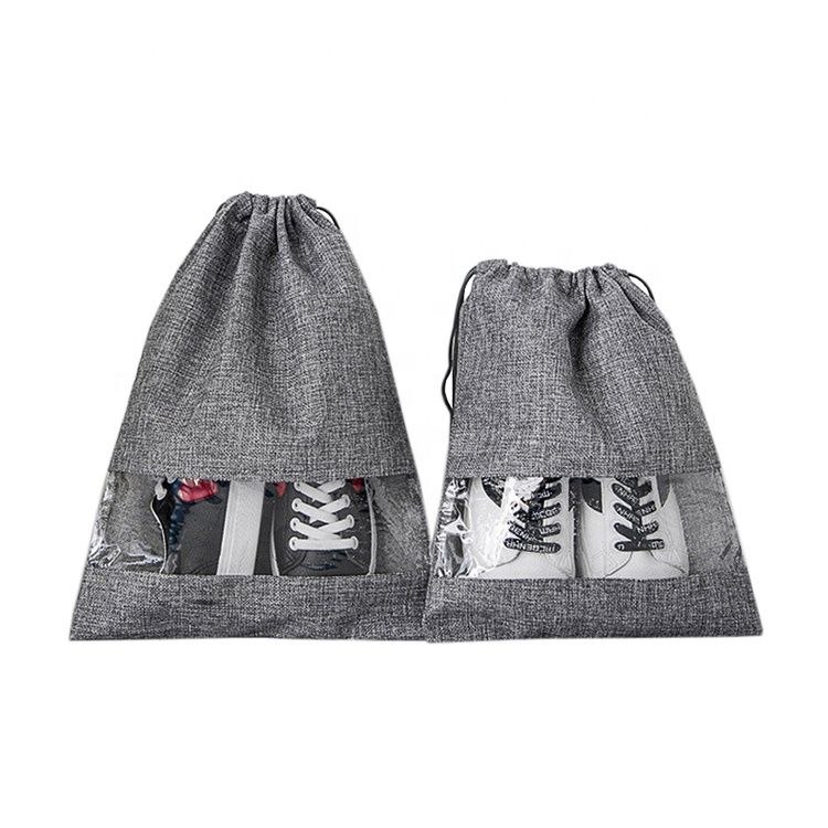 Wholesale travel clothes dustproof linen drawstring cotton shoe bag for men