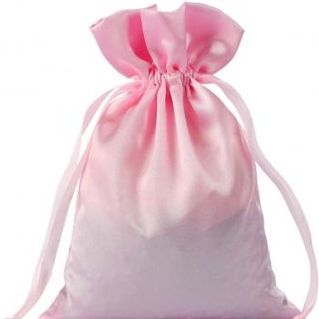 large size drawstring satin bag with printing logo