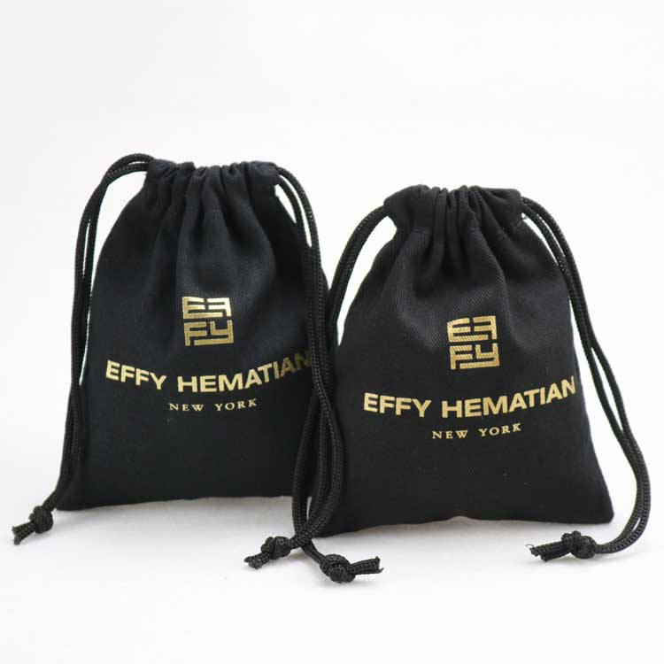 High quality black cotton bag with printed logo drawstring pouch