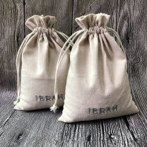 Mini size black cotton muslin drawstring bag with embroidery logo