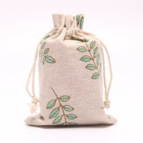 Exclusive custom Chinese ethnic style natural color linen drawstring bag with handmade flax cord,organic