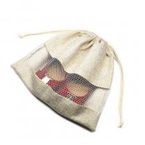 High quality factory custom premium natural drawstring bread cotton linen bags with embroidery