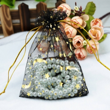 Wholesale Moon Star Organza Bags Small Organza Drawstring Gift Bag