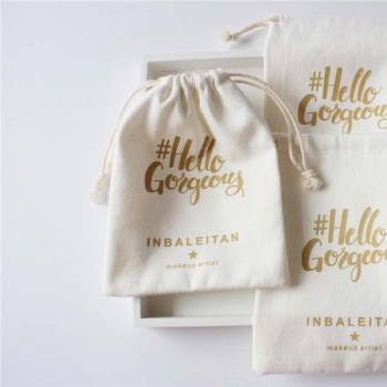 custom organic pouch cotton drawstring jewelry bags with golden logo