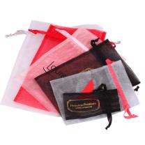 custom red organza bag jewelry packaging bags silk organza bag